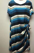 NWT AA STUDIO AA WOMEN PLUS SZ 18W STRIPED BLUE BROW FAUX WRAP RUCHED SIDE DRESS