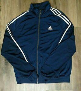 Adidas Men's Three Stripe Classic Track Jacket Medium M Navy Blue Full Zip