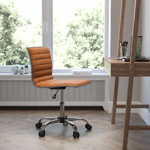 Low Back Designer Armless Brown Ribbed Swivel Task Office Chair
