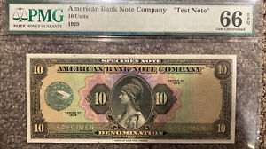 1929 AMERICAN Bank Note Company TEST NOTE - SPECIMEN 10 Units GEM UNC PMG 66 EPQ