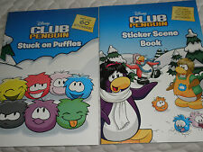 2 CLUB PENGUIN,STICKER SCENE BOOK AND STUCK ON PUFFLES BOOKS.. BR NEW BOOKS