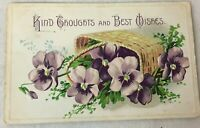 Postcard Posted 1910 Pansy Flowers Basket Kind Thoughts and Best Wishes Divided