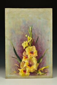 Signed Marion H Miller Pastel Still Life Painting Yellow Flowers