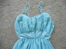 Blue Vintage Nightgown Sheer 1960's 1970's ? Nightie Retro Stage Prop Mad Men