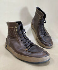 Louis Vuitton Petit Damier High Top Sneaker Boots Men 8US Brown Leather Italy