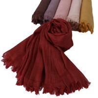 Women Soft Cotton Linen Scarf Muslim Hijab Scarves Head Wraps Plain Headscarf