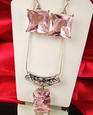 PINK MORGANITE SET Necklace Earrings New STERLING Filigree 7ct Pend 16ct ERs