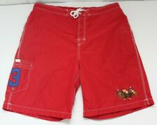 Vintage Polo Ralph Lauren Mens Sz Large Red Embroidered Horses Swim Trunks