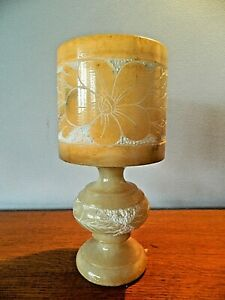 Vintage Etched Marble Onyx Table Lamp