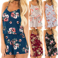 Womens Strappy Playsuit Summer Holiday Beach Loose Jumpsuit Romper Shorts Pants