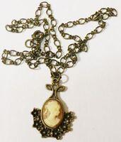 pendentif chaine camée buste femme bijou style vintage couleur bronze * 4885