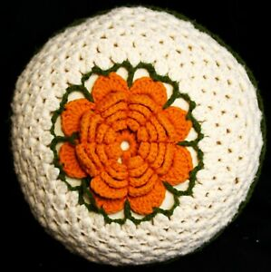 VTG 1970s Crocheted Pillow Ball Granny Squares Shells Cottage Cord Floral Center