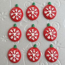 "US SELLER - 10pc x 3/4"" Christmas Tree/Snowflake Ornament Resin Flatbacks SB610"