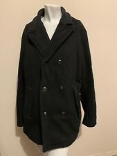 G Star Mens Black Wool Double Breasted Pea Coat XL