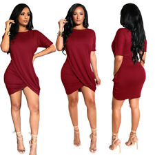 Women short sleeves solid color draped casual club party mini shirt dress