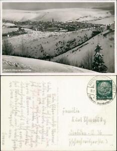 Ansichtskarte Oberwiesenthal Blick auf den Skihang - belebt , Schanze 1935