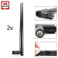 2x Black 2.4Ghz 5Ghz Dual Band 5dbi RP SMA Male Connector High Gain WIFI Antenna