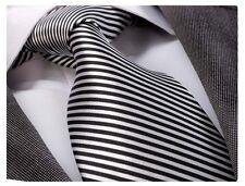 WHITE & BLACK STRIPE SILK TIE - ITALIAN DESIGNER Milano Exclusive