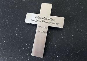 KREUZ als GRABSCHILD Gedenkschild - 110x80mm aus Edelstahl- mit WUNSCHGRAVUR