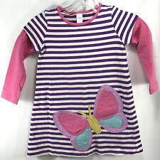 Girls Mini Boden Striped Long Sleeve Dress w Butterfly Applique Size 3 4 Purple