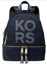 New Michael Kors Rhea Zip Backpack Logo front polyester Bag admiral Gold