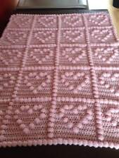 Hearts ~ Handmade Crochet Baby Crib / Cot Blanket. Pick your own colour