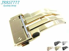 22mm Watch Strap Deployment Stainless Steel 1N14 Gold Brushed Hublo Solid Buckle