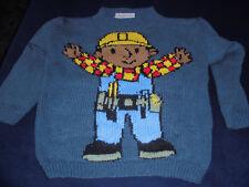 pullover in Gr.110-116 in blau mit Bob der Baumeister rein gestrickt
