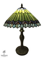 """Tiffany Style 20"""" Green and Blue Abstract Table Lamp. Stained Glass Lighting."""