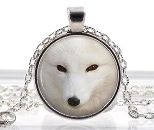 Artic Polar Fox Necklace Pendant - Picture Jewelry White Animal Gifts For Women