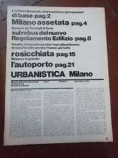 URBANISTICA MILANO n°1 anno I DICEMBRE 1973 MENSILE IST.NAZIONALE URBANISTICA
