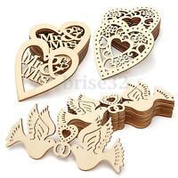 Neu 10X Unerledigte Holz Laserschnitt Herz Formen Handwerk Verzierung S