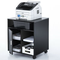 Office Printer Cart Computer Stand File Storage Drawer Shelf Wood Mobile Cabinet