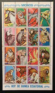 GUINEA ECUATORIAL MNH MONKEYS STAMPS SHEET 16V MONKEY PRIMATE WILD ANIMALS APE