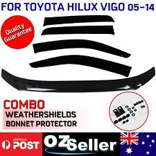 Bonnet Protector & Weathershields Window Visor Set For Toyota Hilux Vigo 2005-14