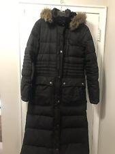 DKNY Donna Karan Woman's Down Coat With Faux Fur Hood Black