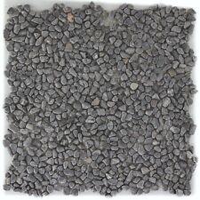 Naturstein Flusskiesel schwarz anthrazit Fliesenspiegel 10 Matten ES-48038_f