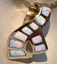Large 14k Gold RIBBONS Pink White Opal Ladies Pendant Sunset GLOW Slide $1,500