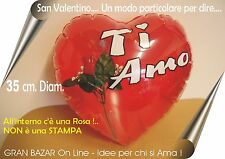 SAN VALENTINO CUORE ROSSO GONFIABILE CON ROSA 35 cm. diam FESTA PARTY