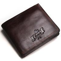 Men's RFID Blocking Genuine Leather Wallet Multi Card High Capacity Bifold Purse