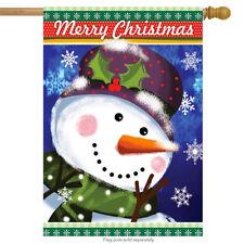 "Merry Christmas Snowman House Flag Holiday 28"" x 40"" Briarwood Lane"