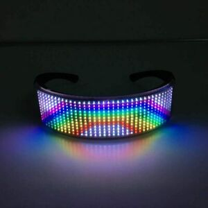 LED APP Controlled Equaliser Glasses Festival Rave Party 254 Bit Screen DJ Ready