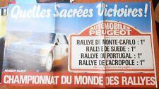 AFFICHE 87X157 CHAMPIONNAT DU MONDE DES RALLYES AUTOMOBILES PEUGEOT TALBOT RARE