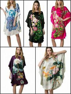 Seide Damen Oversize lang Nachthemd Nachtkleid Tunika Poncho mit Seiden-Malerei