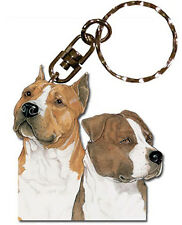 American Staffordshire Terrier Wooden Dog Breed Keychain Key Ring