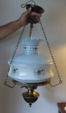 HANGING SWAG HURRICANE LAMP FLORAL PATTERN POWDER BLUE/ WHITE GONE WITH THE WIND