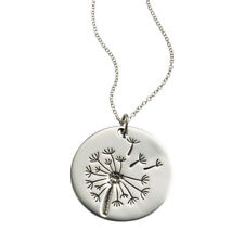 Women's Field of Wishes Necklace-Dandelion Puff Engraved Sterling Silver Pendant