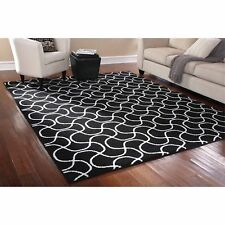 8' x 10' Indoor Black White Area Rug Mat Carpet Living Room Contemporary Decor
