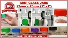 """Tiny Small TRAVEL MINI GLASS PERFUME BOTTLES Jar Clear 1"""" Vials 27mm x 25mm USA"""