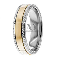 Flat Designed Edge Wedding Band 10K Solid Gold Two Tone Wedding Ring 6mm